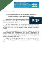 april24.2013_cSTATEMENT OF SPEAKER FELICIANO BELMONTE, JR. ON THE PASSING OF REP. PEDRO ROMUALDO