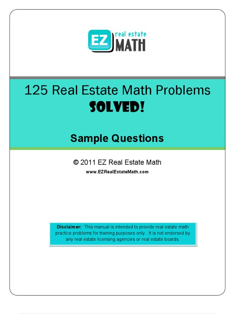 125 Real Estate Math Problems Solved Sample | Interest | Euro