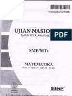 UN Mat SMP 2013 Dan Solusi