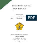 POTENSI ENERGI LISTRIK BATU BARA (NAGAN RAYA, NAD)