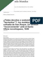 """¿Fieles devotos o sodomitas """"lacrientos""""__ los mulatos de la cofradía de San Roque"""