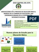 Presentación UCE por la Dra Cristina Molina  en panel de formacion INAFOCAM