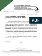 carta a la CAPITANÍA DE PUERTO CAICARA DEL ORINOCO proyecto