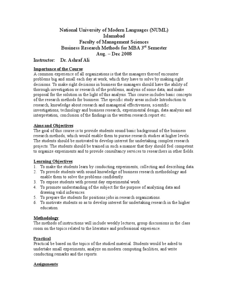 numl brm notes mba iii scientific method data