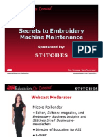 Secrets Embroidery Machine Maintenance 101509