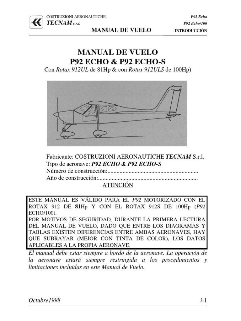 Manual P92 Echo | Despegue | Peso
