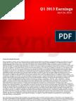 Zynga Q1'13 Earnings Slides