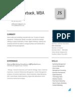 Jeff Shjarback Marketing Consultant CV