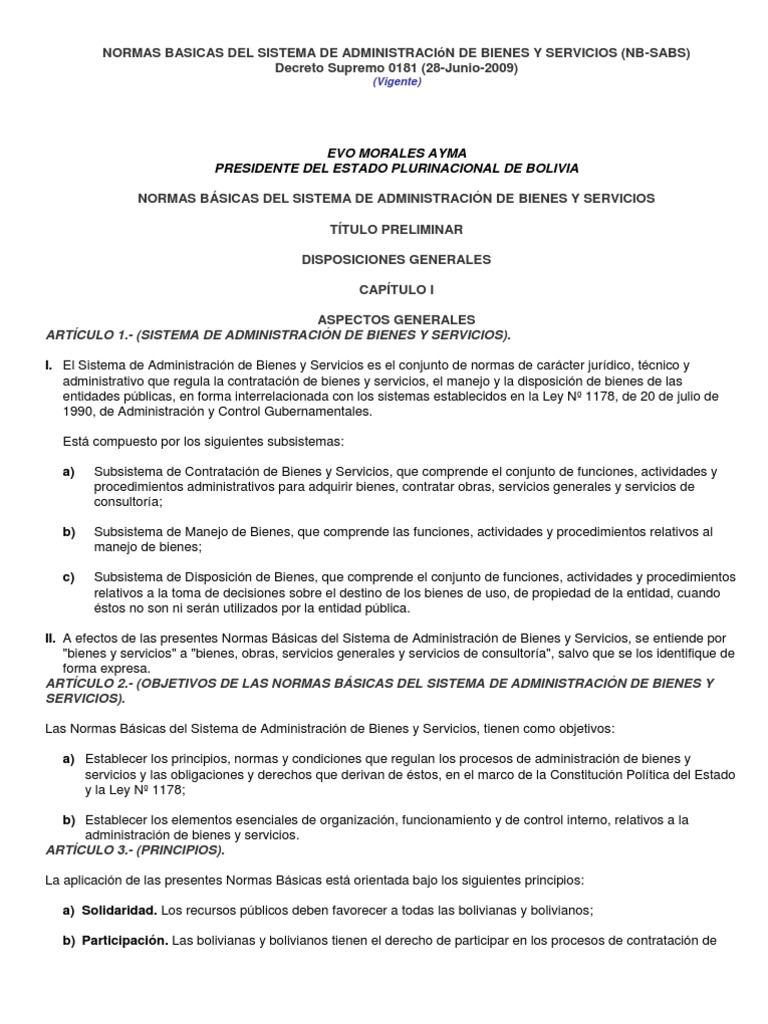 NORMAS BASICAS DEL SISTEMA DE ADMINISTRACIóN DE BIENES Y SERVICIOS