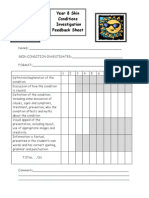 skin task feedback sheet