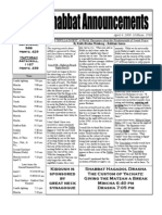 Shabbat Announcements, April 4, 2009