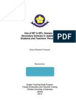 ELT Research Proposal Sample--MT in EFL Classes