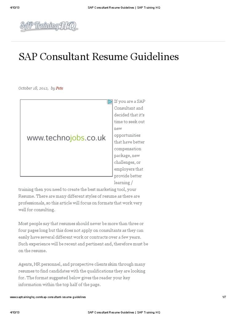 SAP Consultant Resume Guidelines _ SAP Training HQ | Résumé | Consultant