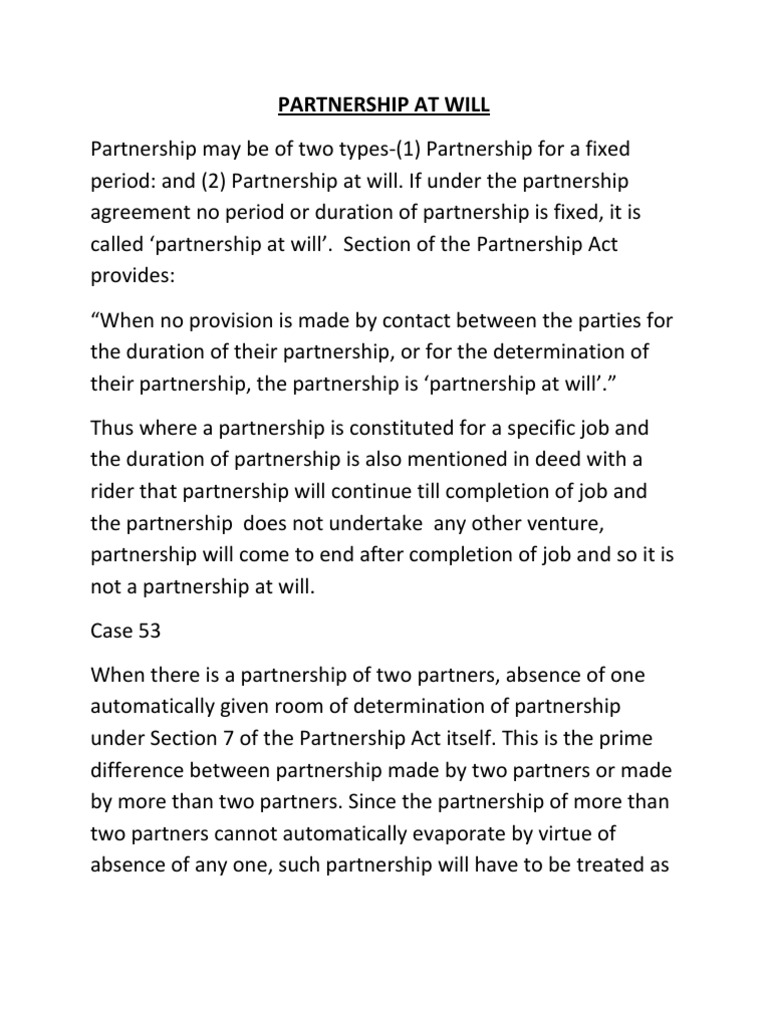 Partnership At Will Partnership Law Of Agency