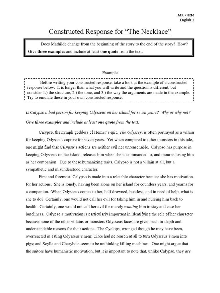 Constructed Response Example and Assignment The Necklace  PDF