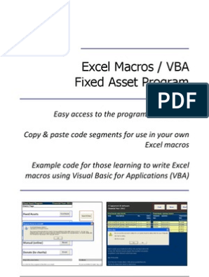 Excel Macros / VBA (Fixed Asset Program) | Visual Basic For