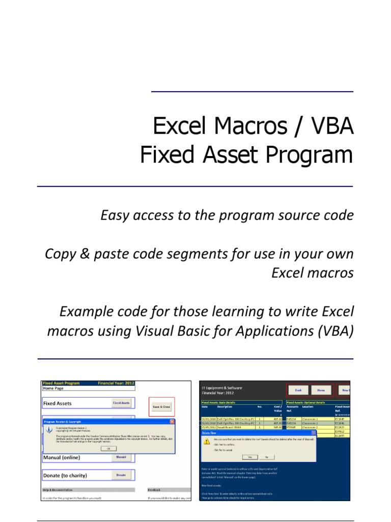 excel macros vba fixed asset program visual basic for rh scribd com manual basico para ministerios de alabanza manual basico para escoltas privados