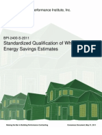 BPI-2400-S-2011 Standardized Qualification of Whole House Energy Savings Estimates