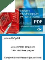 Analyse microbiologique de l'eau à l'hopital