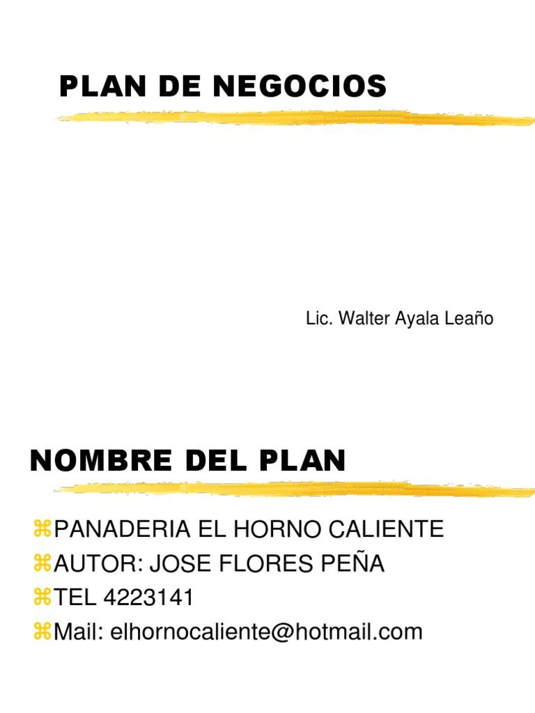 Ejemplo plan de negocios para panaderia for Plan de negocios ejemplo pdf