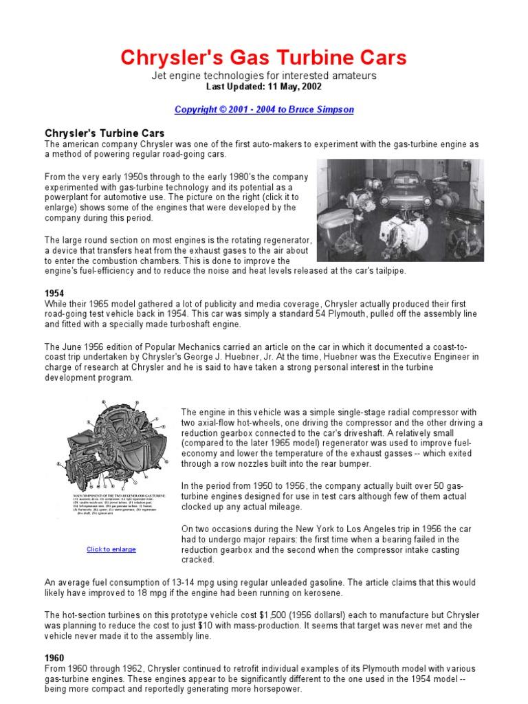 Chryslers Gas Turbine Cars Internal Combustion Engine 1950s Chrysler