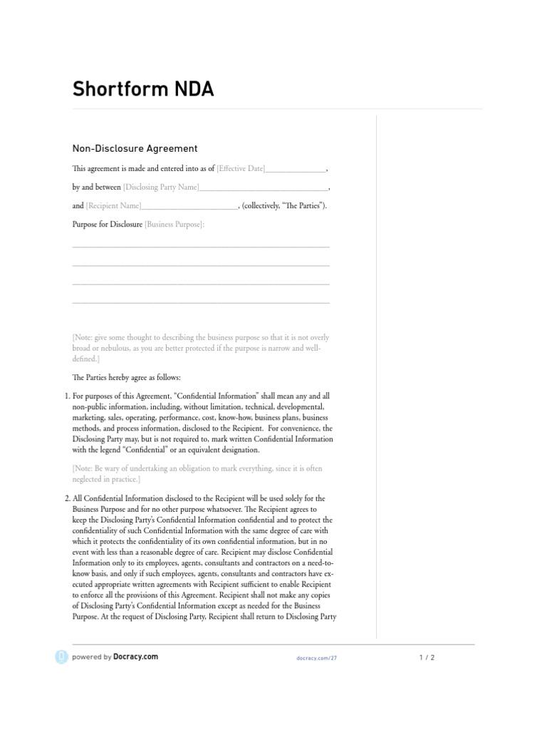 Generic Shortform Nda Non Disclosure Agreement