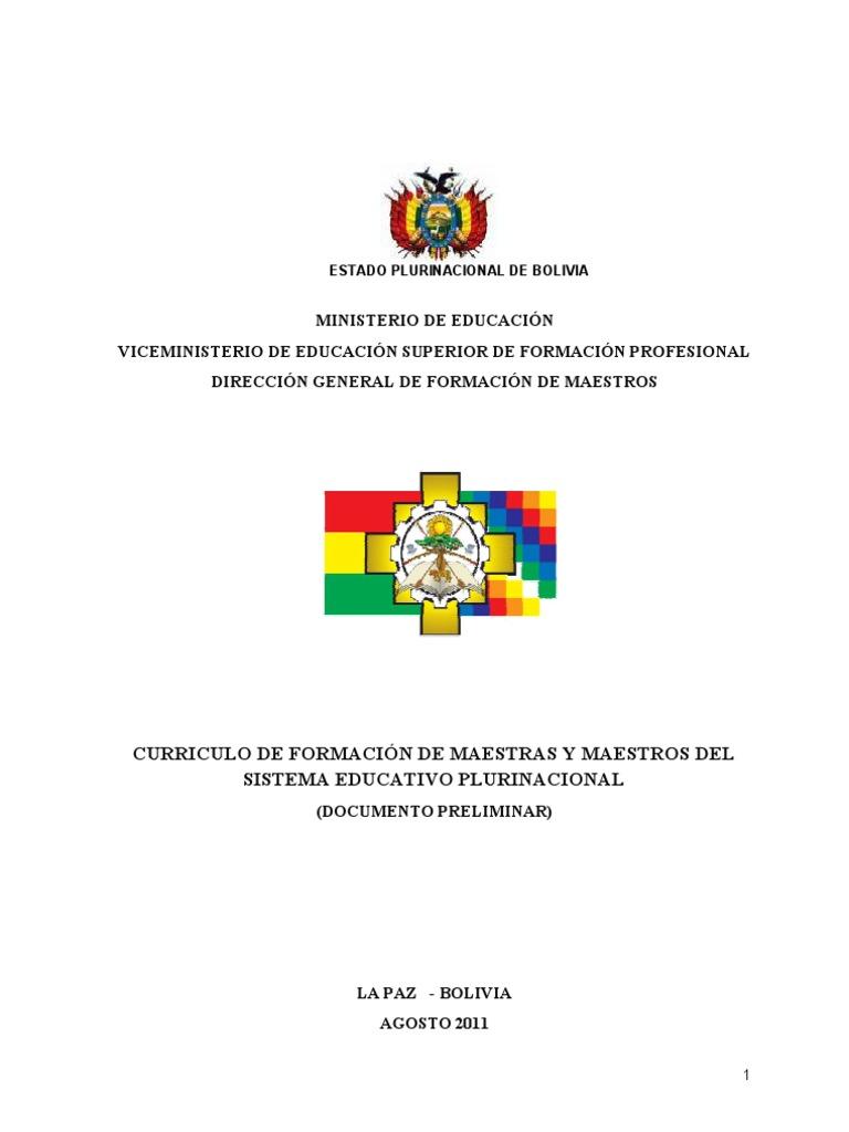 CURRICULO DE FORMACIÓN DE MAESTRAS Y MAESTROS DEL SISTEMA EDUCATIVO ...