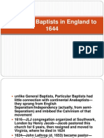 Particular Baptists in England to 1644