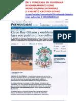 Indignación por nombramiento circo rey gitano como Patrimonio cultural intangible. 5 Nov 2012.