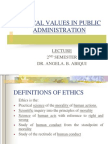Ethical Values in Public Administration