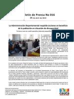Boletín 016_ La Administración Departamental respalda acciones en beneficio de la población en situación de discapacidad
