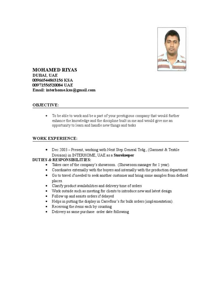 Storekeeper job description template.