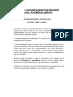 REFLEXIONES SOBRE LECTURA LEIDA - La Culpa Es de La Vaca - Luis Eduardo Fajardo