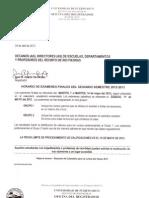 Horario Examenes Finales 2do 2012-2013