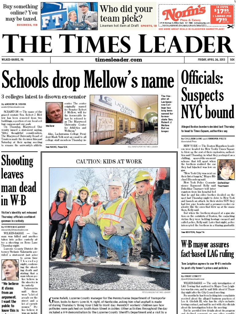 Times Leader 04 26 2013 George W Bush Miranda Warning Yong Ma Mc 5700 15l Magic Com Digital Pemanas 3d