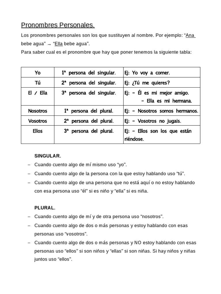 Ejercicios pronombres personales, 3º Primaria