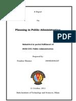 Planning in Public Administration-Prankur Sharma