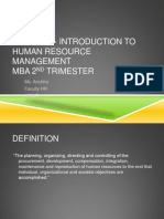 Module 1- Introduction to Human Resource Management