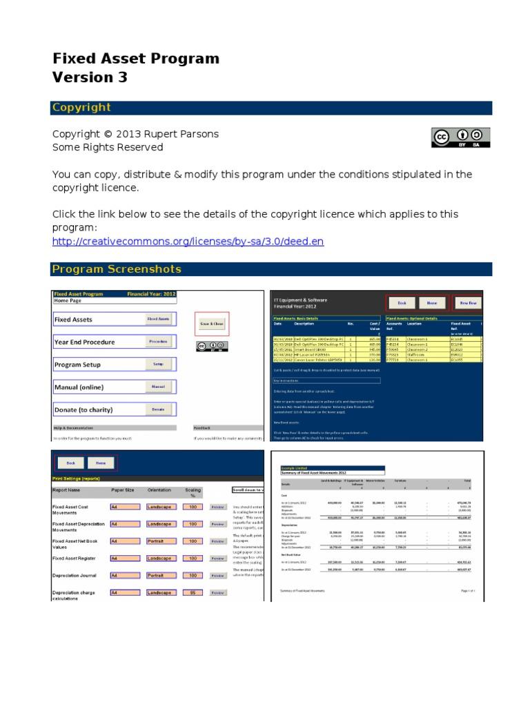 fixed asset program excel depreciation debits and credits