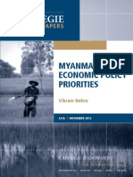 Myanmar's Economic Policy Priorities