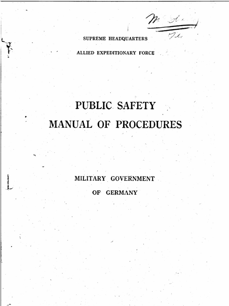 Public Safety Manual for Military Government in Germany, 1944 | Police |  Nazi Germany