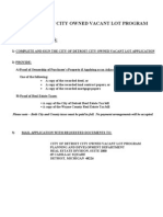 City Owned Vacant Lot Application for Detroit (Side Lot Application)
