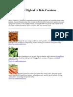 Foods Rich in Beta Carotene