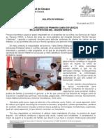 16/04/13 Germán Tenorio Vasconcelos SSO Y PROFESORES DE PRIMARIA UNEN ESFUERZOS EN LA DETECCIÓN DEL CÁNCER INFANTIL