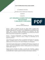 LEY ORGÁNICA DE REFUGIADOS Y ASILADOS