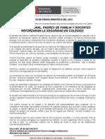 POLICÍA NACIONAL, PADRES DE FAMILIA Y DOCENTES REFORZARÁN LA SEGURIDAD EN COLEGIOS