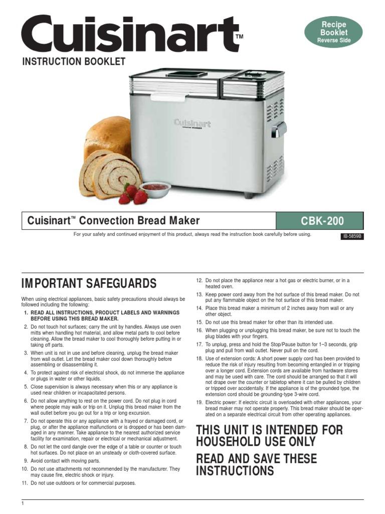 Cuisinart Bread Maker Manual | Breads | Dough