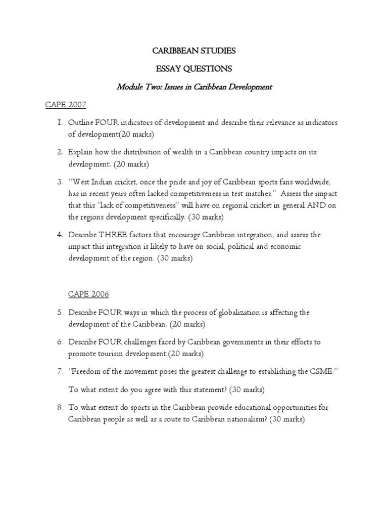 essay caribbean challenges