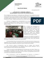 26/04/13 Germán Tenorio Vasconcelos CAPACITA SSO AL PERSONAL MÉDICO Y  DE ENFERMERÍA PARA DETECTAR CÁNCER INFANTIL