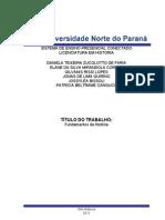TRABALHO DO CURSO DE HISTÓRIA 2011 PRIMEIRO